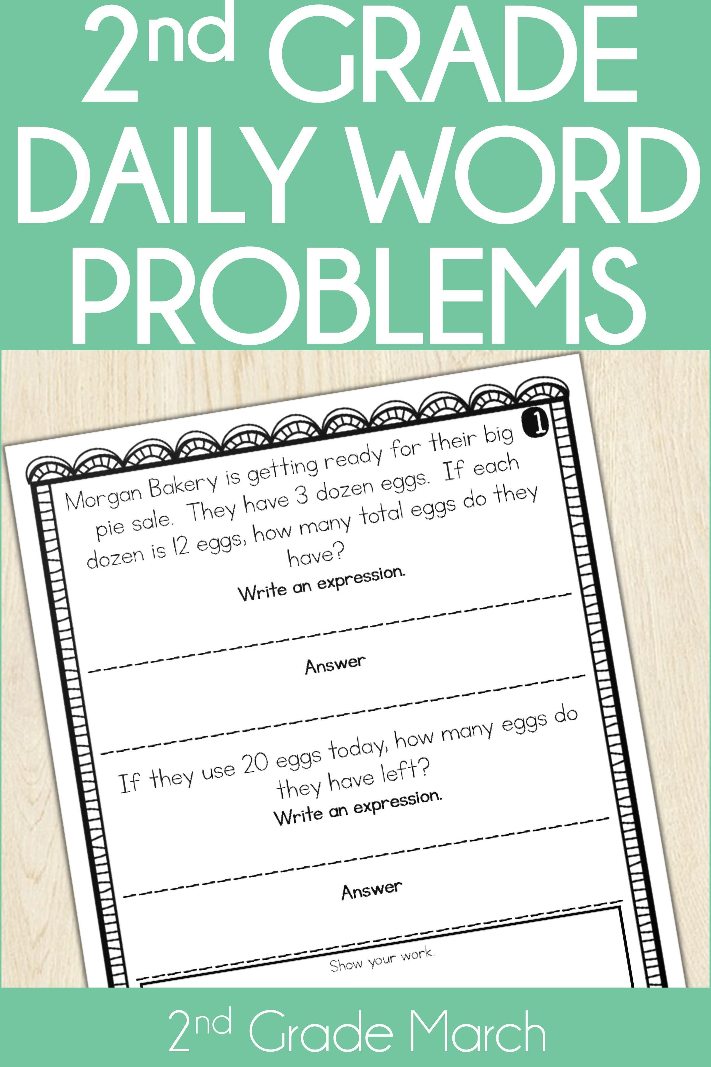 2nd Grade Word Problem Of The Day Story Problems March With