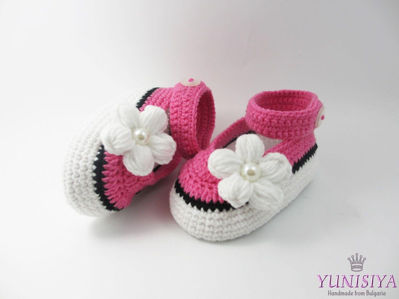 Pink baby shoes, Crochet Baby Shoes, Crochet Baby Booties, Summer ...