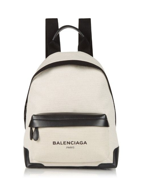 2467dc25f3ac BALENCIAGA Navy Canvas And Leather Backpack.  balenciaga  bags  leather   canvas  backpacks