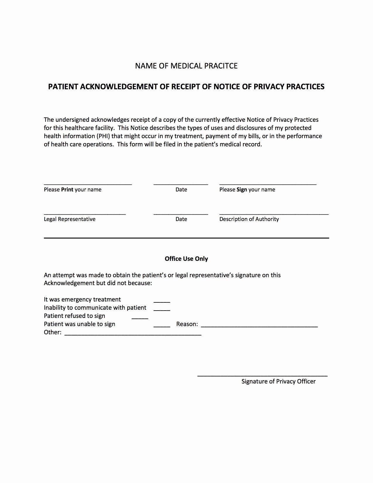 Acknowledgement Of Receipt Of Notice Of Privacy Practices Form Awesome Acknowledgement Of Receipt O Resume Template Word Nursing Resume Template Invoice Design
