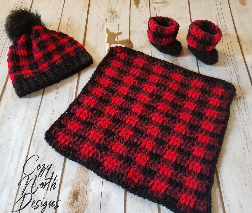 Crochet Buffalo Plaid Baby Teether Set Baby Deer Wooden Teether Attached To Plaid Crochet Patterns Baby Boy Baby Blanket Crochet Pattern Baby Blanket Crochet
