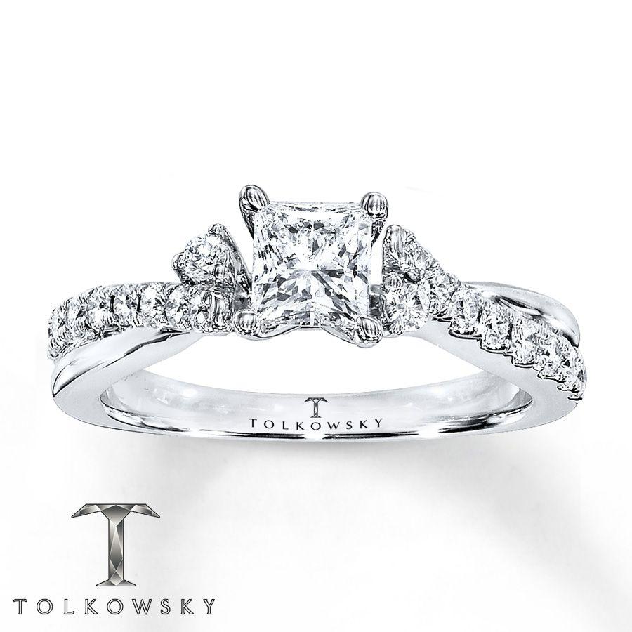 Tolkowsky Engagement Ring 1 ct tw Diamonds 14K White Gold Ring
