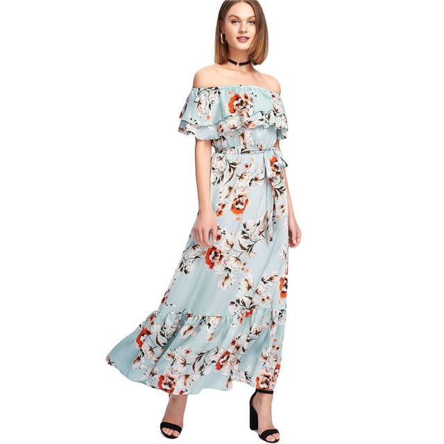 ea41136fb4 SHEIN Ruffle Off The Shoulder Floral Print Dress Women Sleeveless Belted  Shift Maxi Dress 2018 Summer Beach Boho Dress