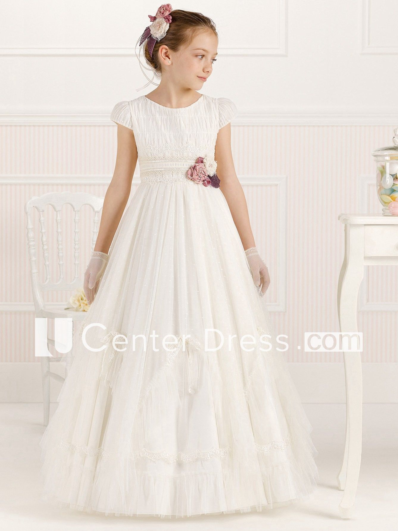 9f125a905 A-Line Lace Long Scoop-Neck Short-Sleeve Tulle Flower Girl Dress With