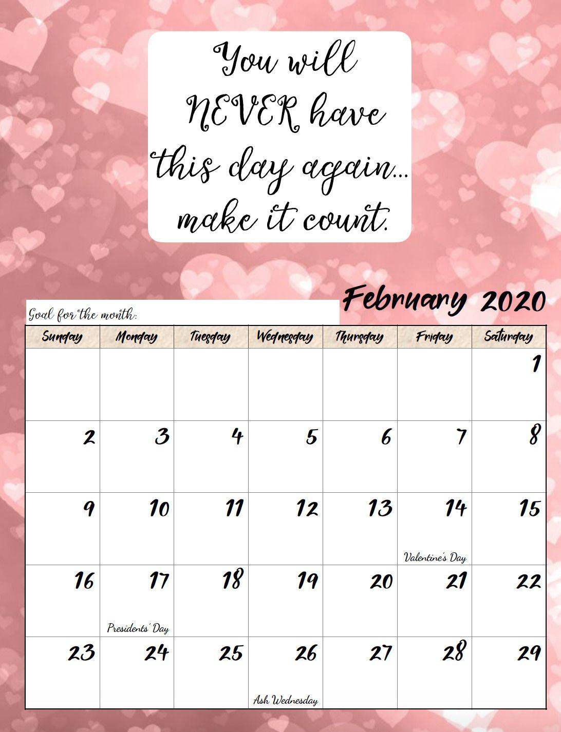 Free Printable 2020 Monthly Motivational Calendars Calendar