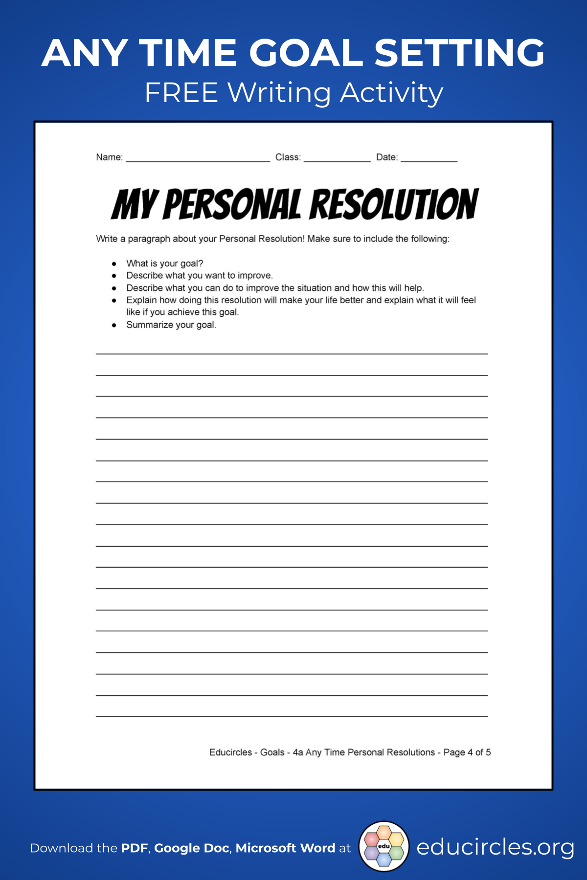 2021 New Year S Resolutions Worksheet Google Doc Pdf Word In 2021 New Years Resolution Writing Assessment Paragraph Writing