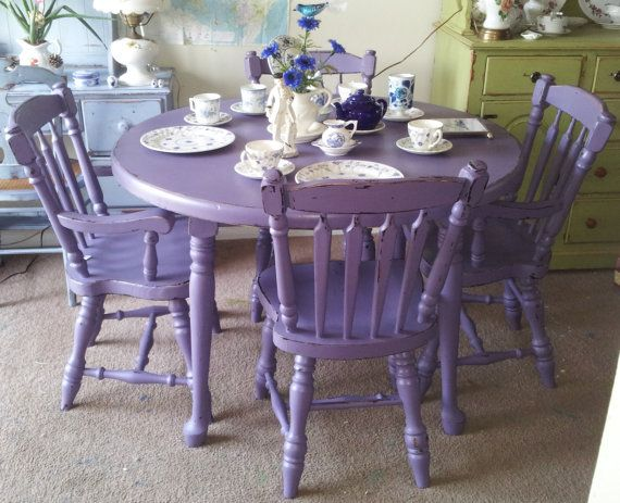 Purple antique shabby chic mahogany dining table chairs hand painted furniture upcycle - Painted dining tables distressed ...