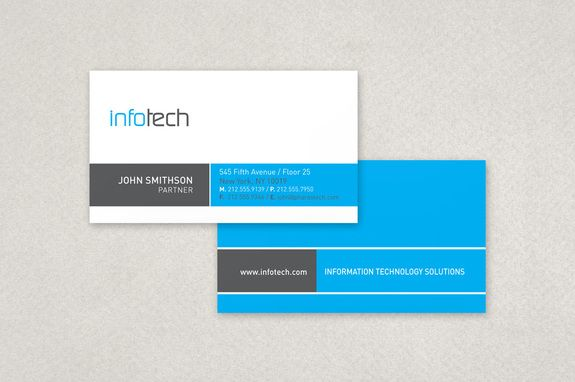 Information Technology Business Card Template A Clean Modern