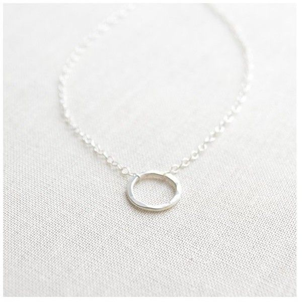 Olive Yew Hammered Small Silver Circle Necklace