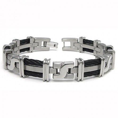 """8.25/""""MEN WOMEN Stainless Steel 9mm Gold//Black Anchor Braided Leather Bracelet*87"""