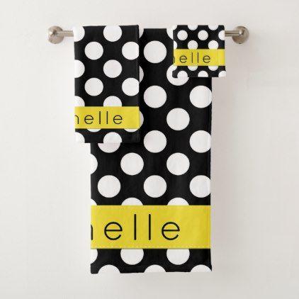 Your Name Polka Dots Spots Black White Yellow Bath Towel Set