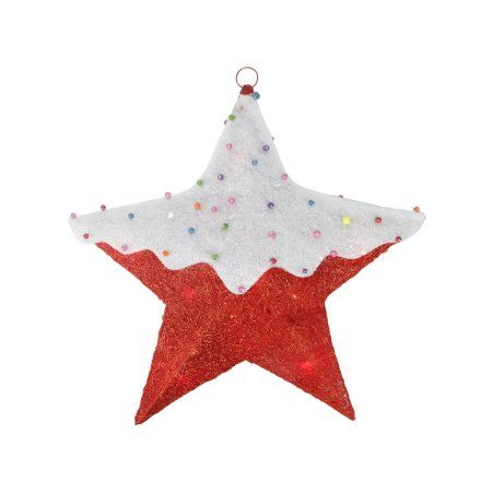 18 inch Lighted Snow Covered Candy Red Sisal Hanging Christmas Star