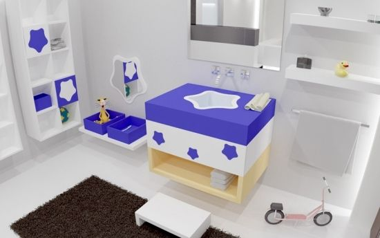 Farbideen Badezimmer ~ Kinder badezimmer flauschiger teppich niedliges waschbecken bad