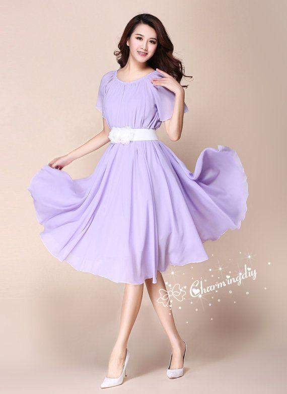 af81fbc050ae 32 Colors Chiffon Lavender Light Purple Short Sleeve Knee Skirt Party  Evening Wedding Lightweight Dress Sundress Summer Bridesmaid Dres