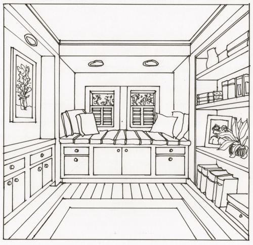 Drawing an interior space with one point perspective ...