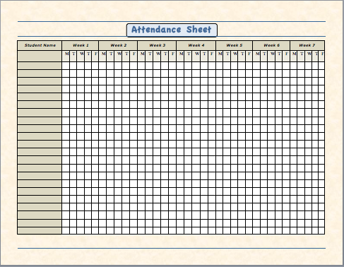 Attendance Sheet for Employees Excel 2018 Templates PDF For