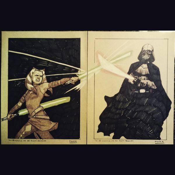 Cool Ahsoka Vs Vader sketch cards!