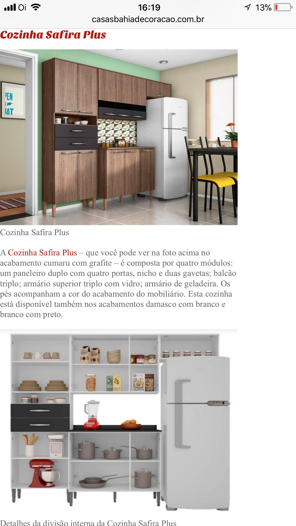 Armario De Cozinha Safira Casas Bahia Beautiful Cozinha Compacta