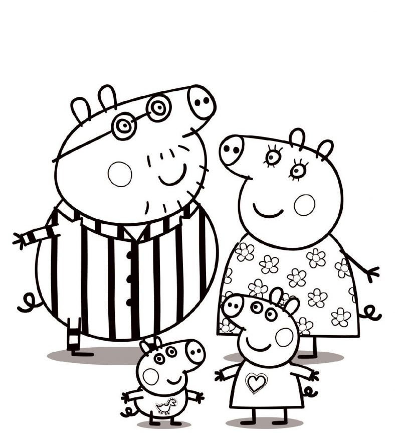 Peppa Pig Coloring Pages Printable and Free | Peppa pig coloring ...