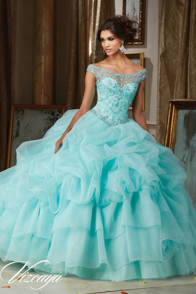 fee5b198ae1da Colors available: Iced Pink, Light Aqua, White. Sizes Available: 0-28. Satin  Tulle with Embroidery and Beading. Quinceanera Dresses 15 Dresses by  Madeline ...