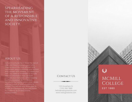 Red and White Modern Elegant School Trifold Brochure Educational - microsoft word tri fold brochure