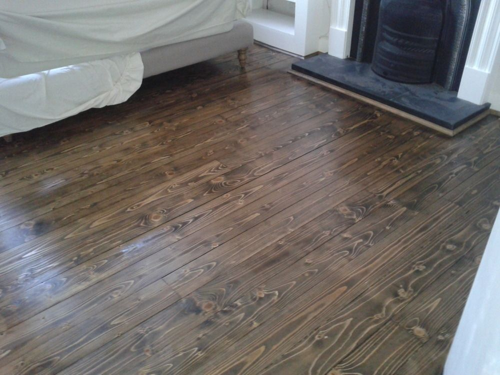 Pine floorboards sanded, stained dark JacobeanOak and ...
