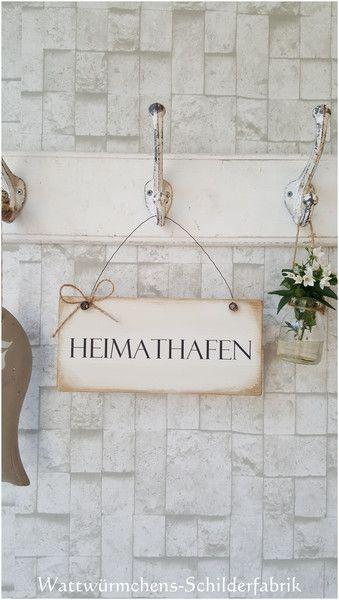 Tür- & Namensschilder - Shabby Schild Holz *Heimathafen* Shabby-Chic…