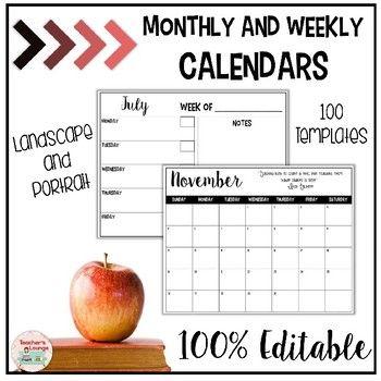 EDITABLE Calendar Templates Third Grade Thrills Pinterest