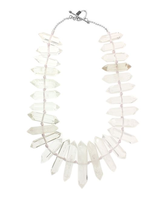 Clear Quartz Crystal & Sterling Silver Graduated Necklace