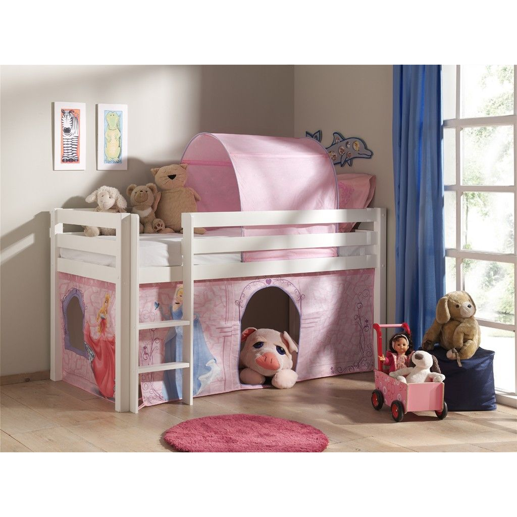 lit mi hauteur charlotte pin verni blanc disney princess. Black Bedroom Furniture Sets. Home Design Ideas