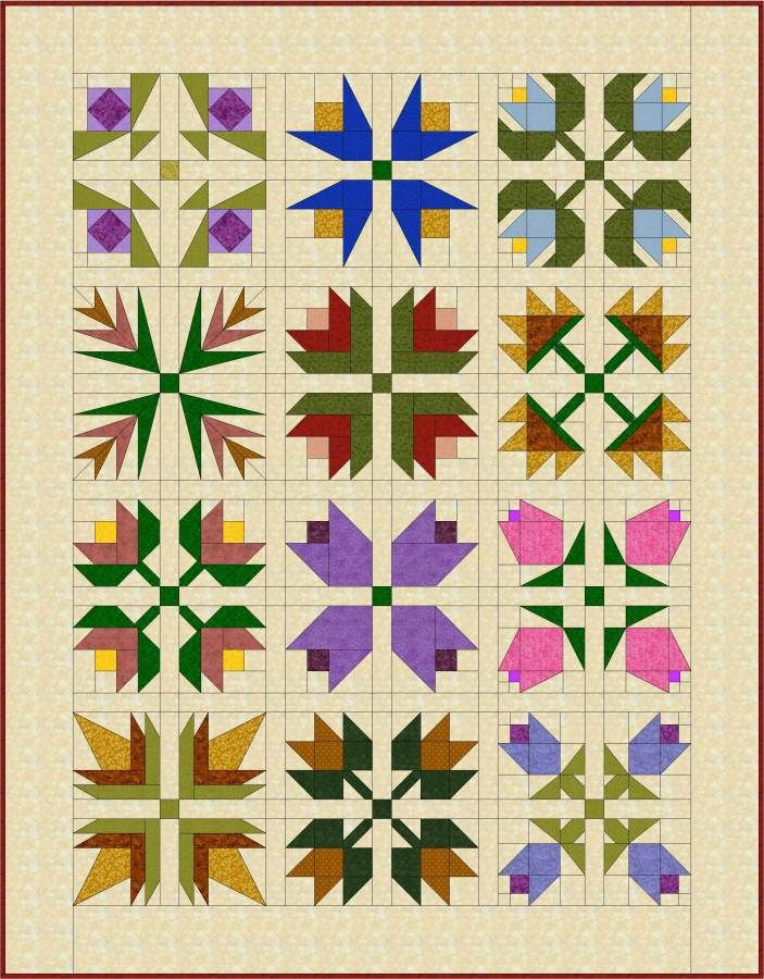 Pieced Flowers Jpg 703 900 Flower Quilt Patterns Patchwork Quilt Patterns Flower Quilt