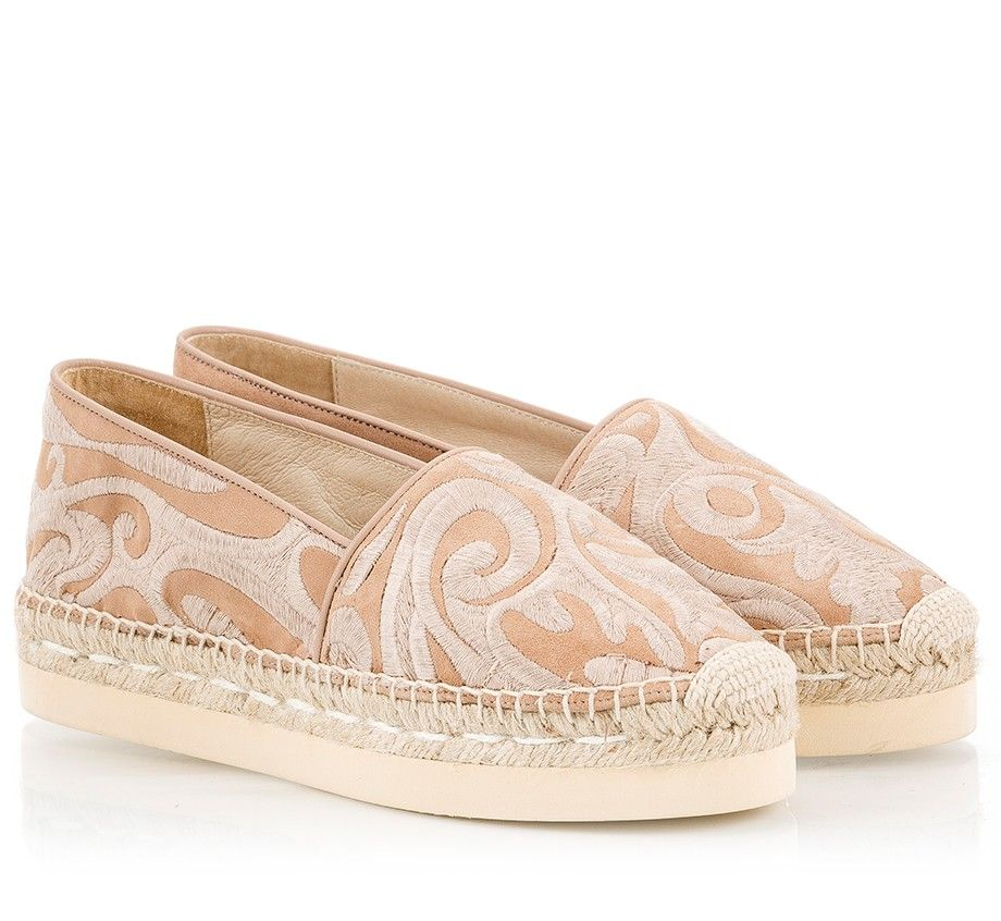 Palomitas By Paloma Barcelo espadrilles are perfect for the city or vacation. Crafted in Spain from nude soft suede leather, they are beautifully embroidered with paisley motif. This flatform pair is completed with a jute platform with rubber sole providing lift without compromising on comfort. Wear yours with a sundress.