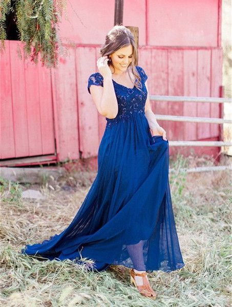 Blue Lace Spliced A-line Chiffon Prom Dresses 2017