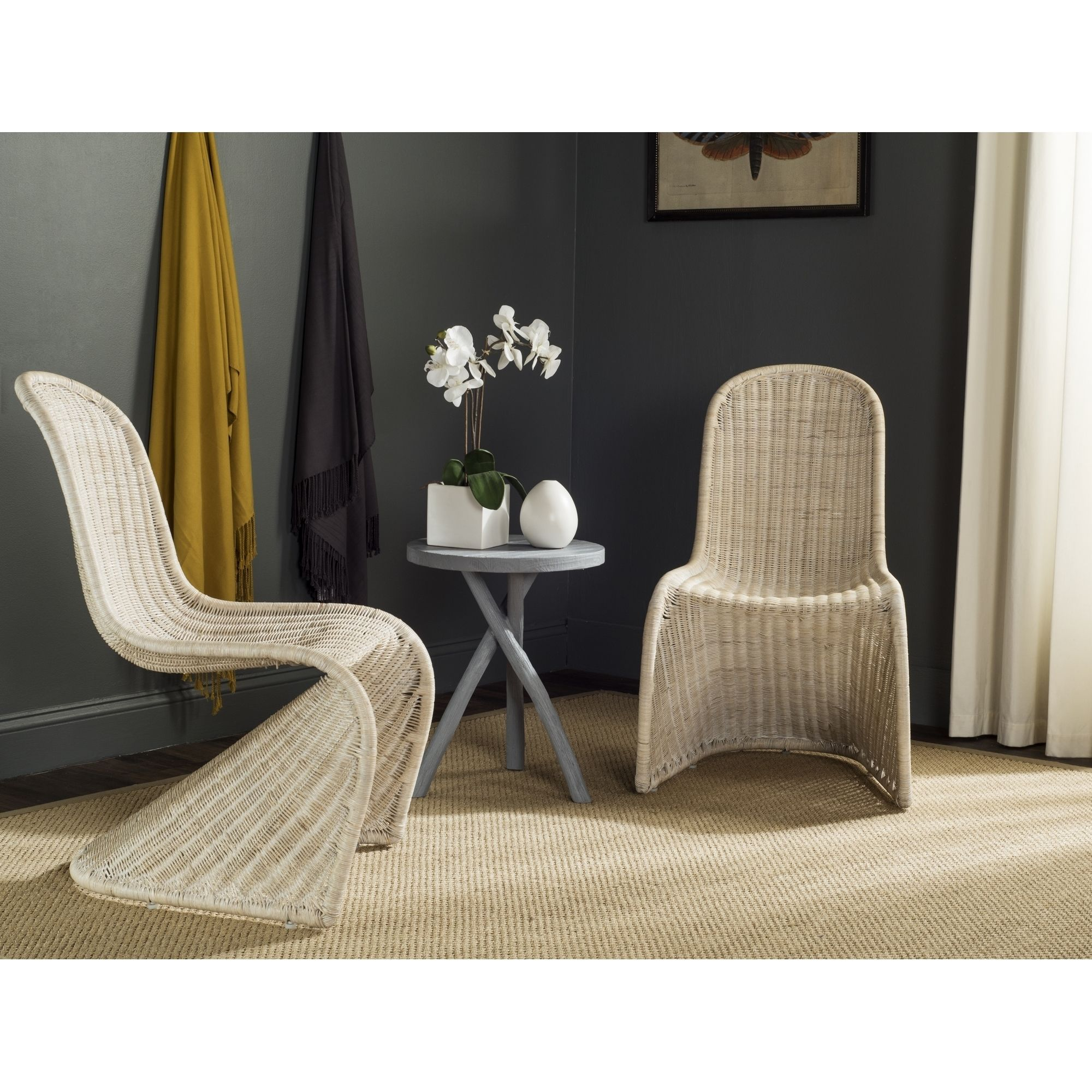This contemporary wicker side chair is reminiscent of Verner Panton's Danish design classics.