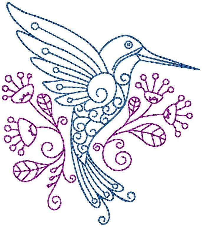 Hummingbird #10 Hand Embroidery Pattern | Punch Needle Embrodery ...