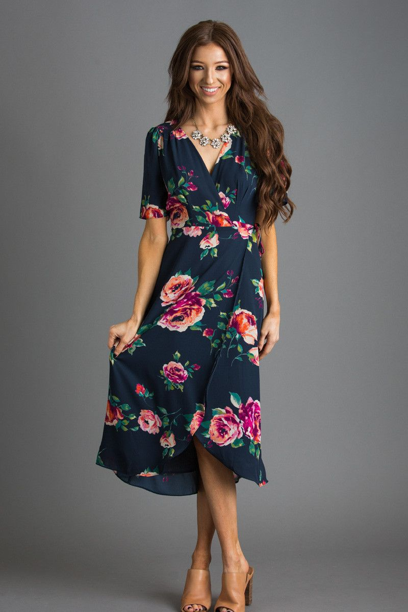 this selftie wrap dress has the most gorgeous navy floral
