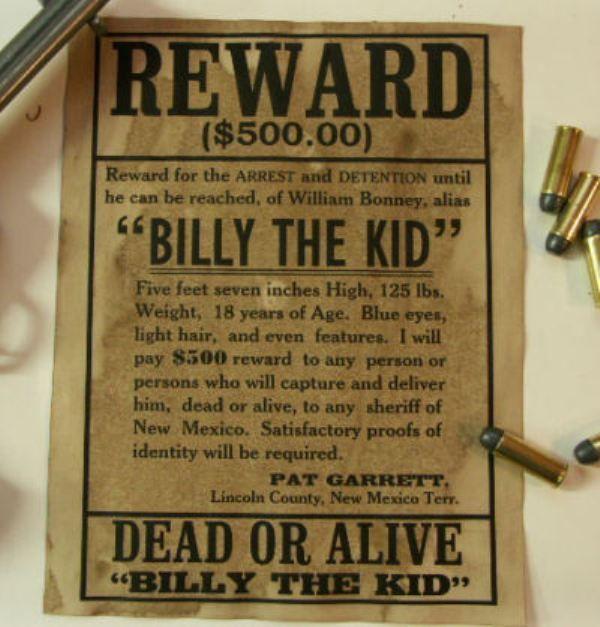 Billy The Kid Reward Poster Billy The Kids Vintage Ads Wild West
