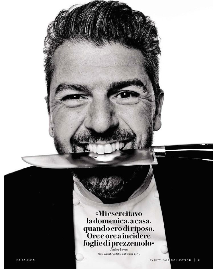 Super chef Andrea Berton featured in the latest Vanity Fair Italy wearing Canali #tails #menswear #fashion #chef
