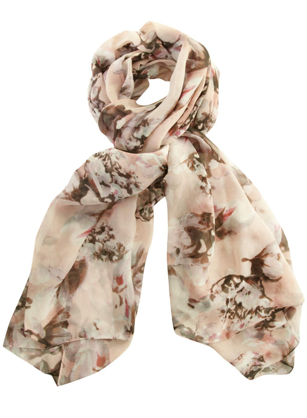 Nude chiffon scarf with floral print in the style of a watercolour painting. 100% Polyester.