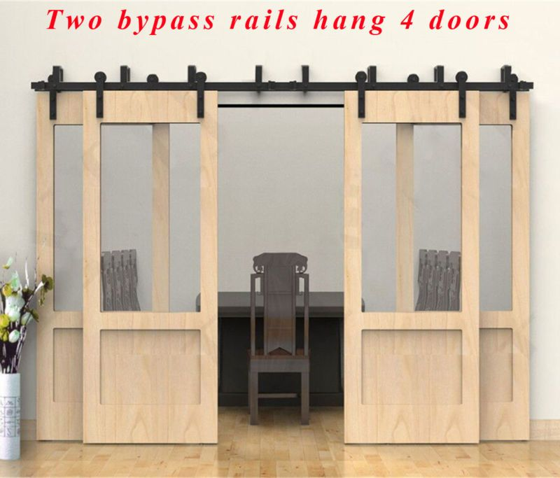 4 Byping Barn Doors Ccjh 8 20ft Byp Rustic Sliding Wood Door Hardware Closet Kit
