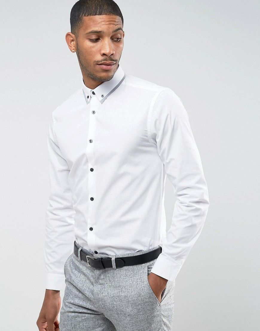1bb45f4f NEW LOOK CONTRAST TRIM COLLAR SHIRT WITH LONG SLEEVES IN REGULAR FIT - WHITE.  #newlook #cloth #
