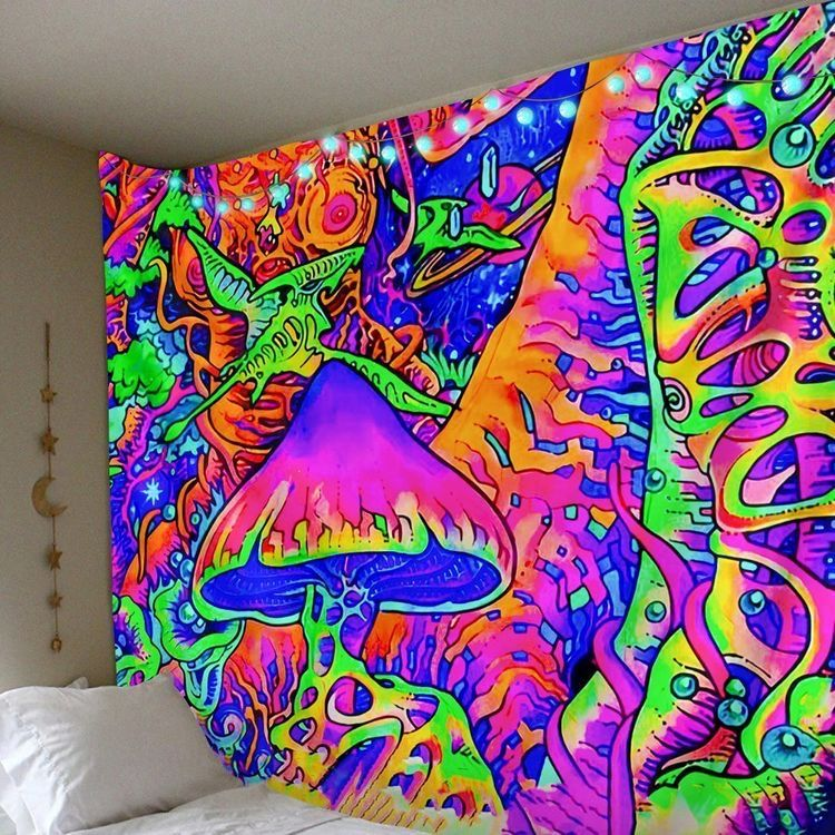 On Mushrooms Tapestry In 2020 Room Tapestry Colorful Tapestry Hippie Tapestry