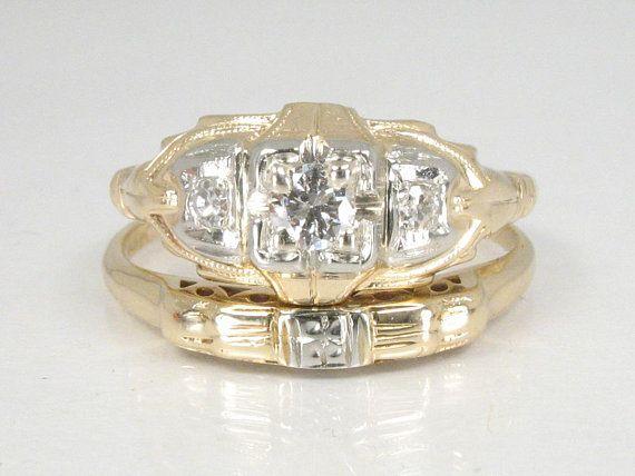 Antique Estate Diamond Wedding Ring Set Two Tone 14k Gold 385 00