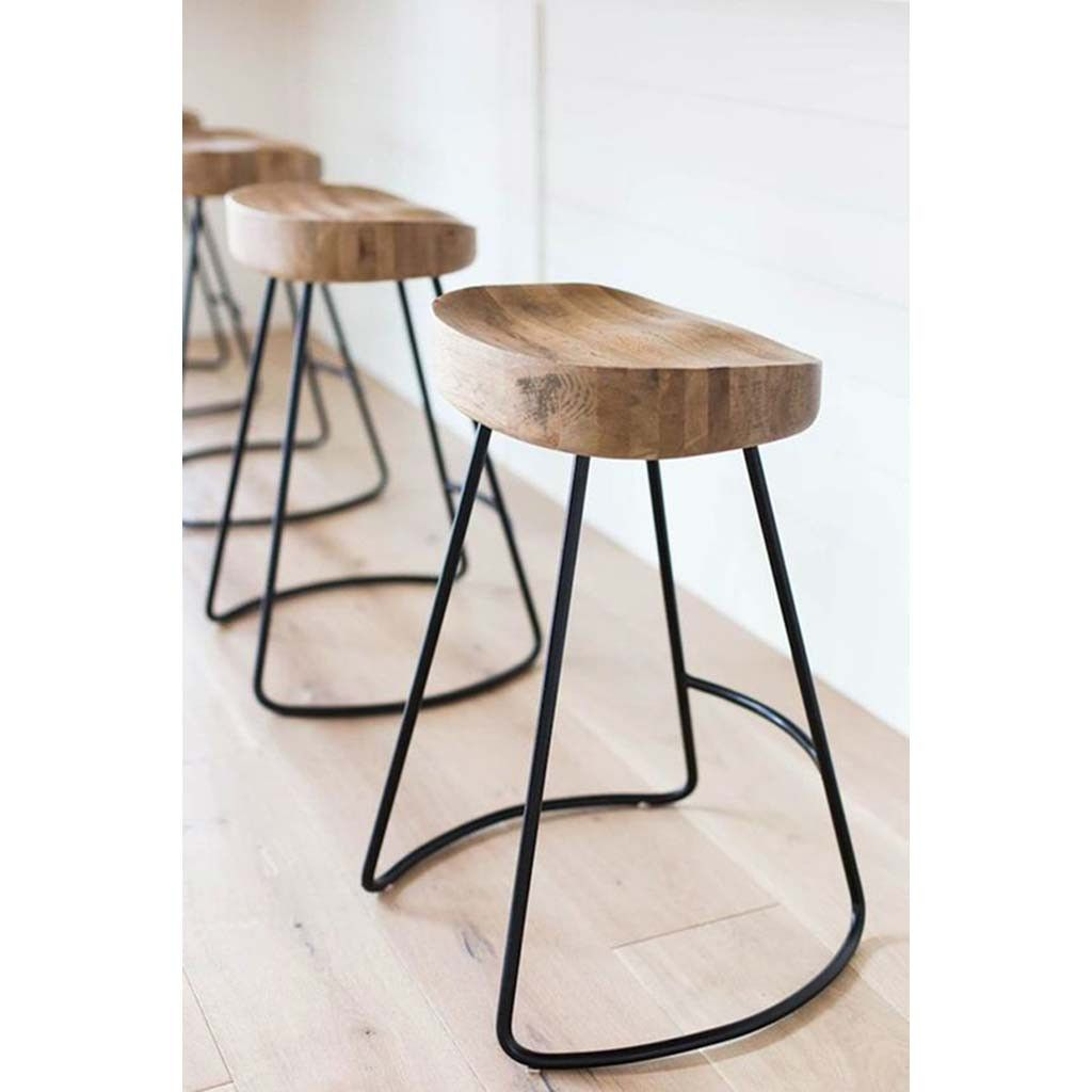 The Rustic Tractor Seat Oak Wooden Bar Stool is a minimalist