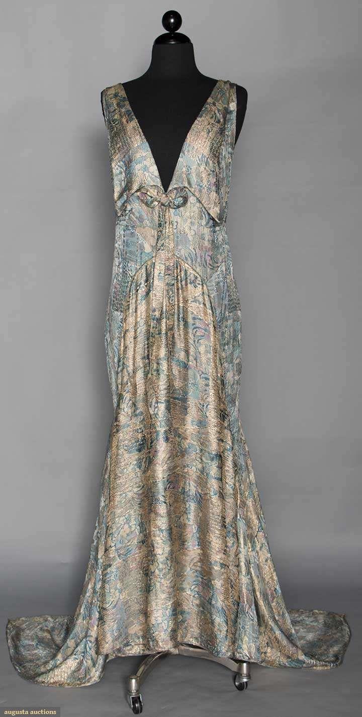 Aqua Lame Evening Gown 1930s Vintage Gowns Fashion Satin Evening Dresses [ 1426 x 720 Pixel ]