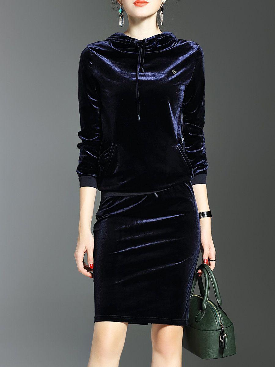 Lonyuash black two piece plain sleeve slit midi dress two
