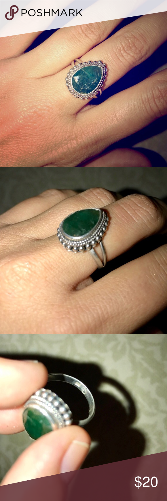 Green stone ring Love this ring! Dark green gemstone, size 7. Sterling silver. .925 printed on the inside of the band. Comfortable to wear, not bulky.  ✨Save on bundles! ✨ Jewelry Rings