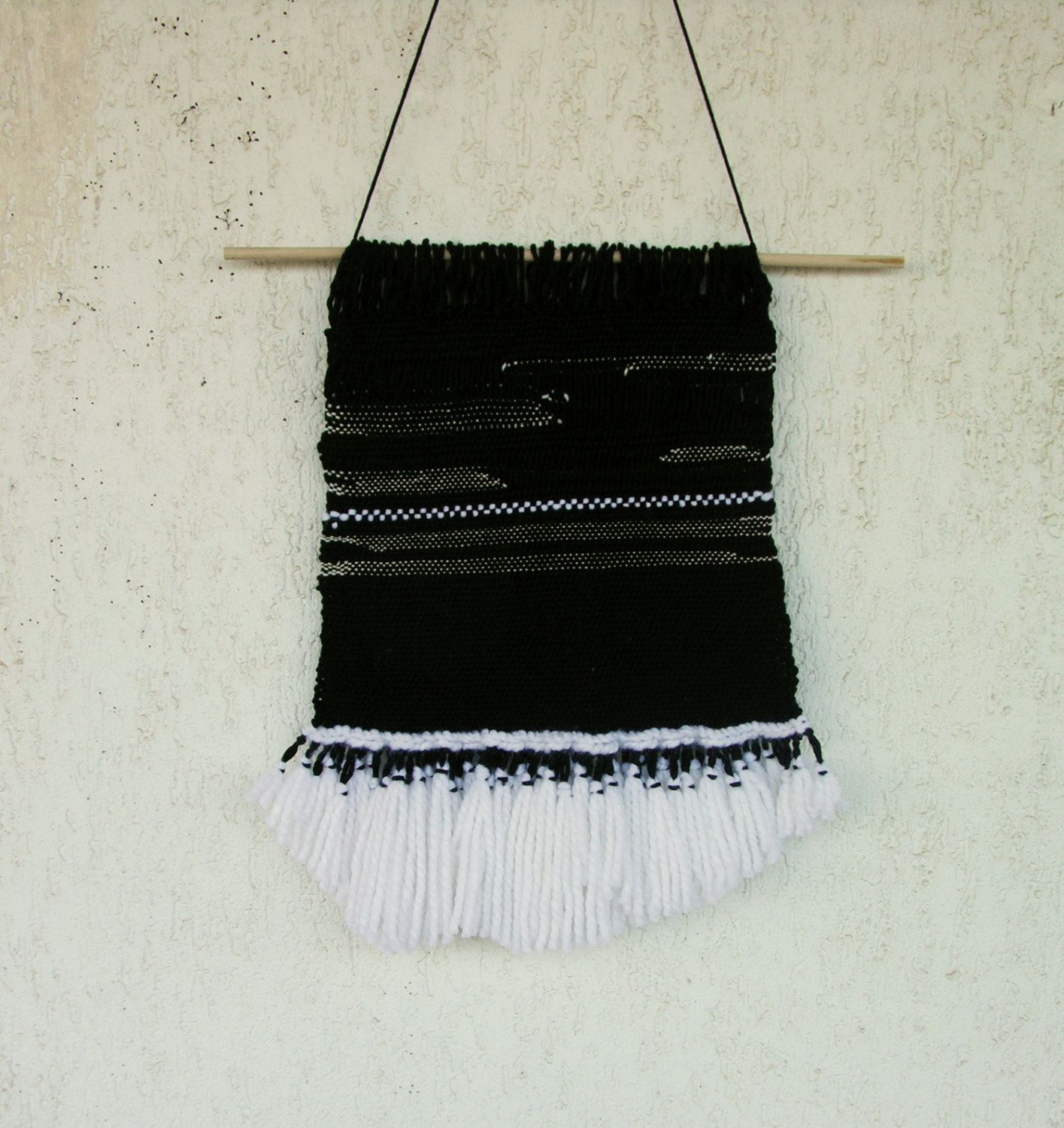 Black and white wall art wall hanging woven woven hanging wall