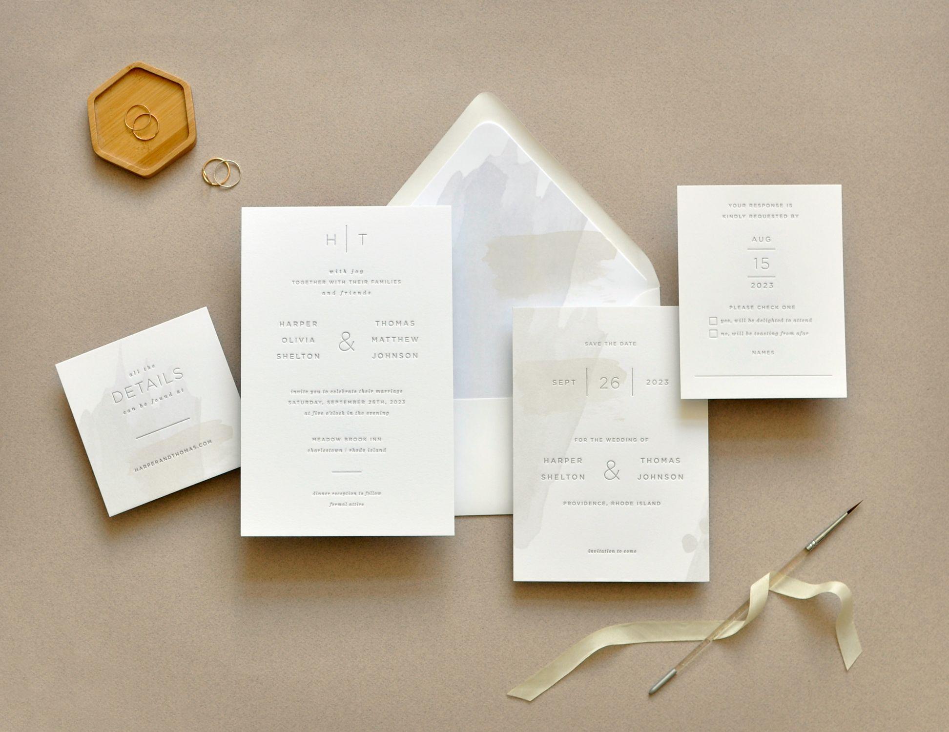 Harper wedding invitation contemporary wedding invitation in one