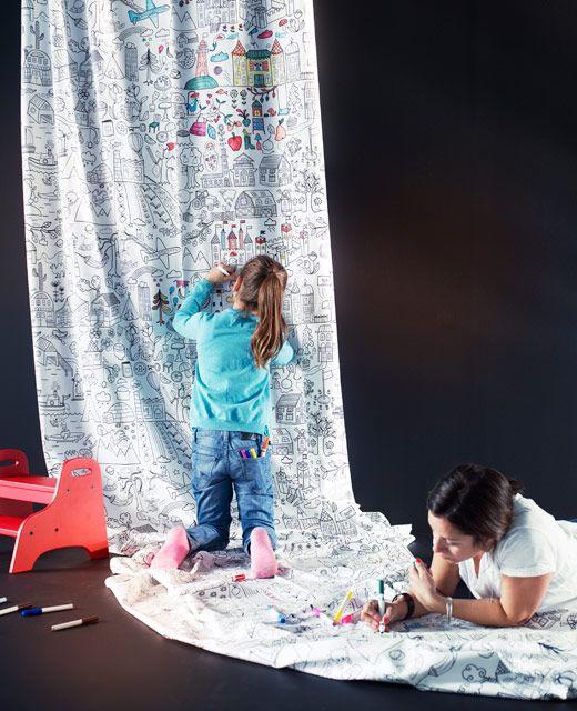 Tessuto a metraggio tidny appeso alla parete baby - Tessuti a metraggio ikea ...
